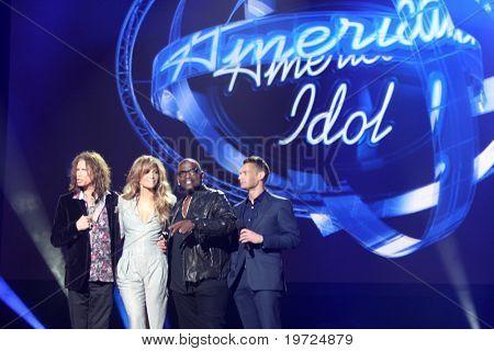 LOS ANGELES - SEP 22:  Stephen Tyler, Jennifer Lopez, Randy Jackson, Ryan Seacrest at the American Idol Season 10 Judges Announcement at Forum on September 22, 2010 in Ingelwood, CA