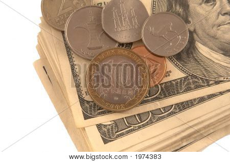 Us Dollars On White