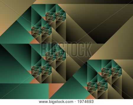 Optical Art Cubist Fractal One Green And Caqui