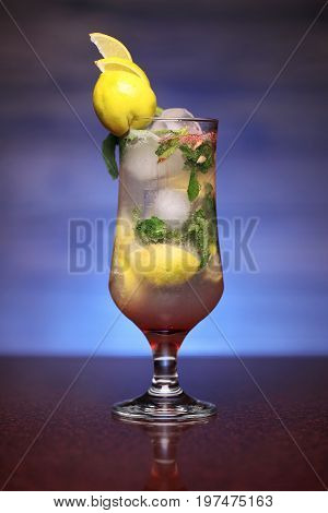 Glass Of A Refreshing Lemon And Mint Water Drink