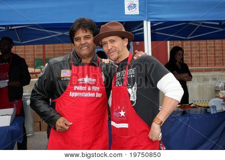 LOS ANGELES - NOV 18:  Erik Estrada, Clifton Collins, Jr arrives at the 2010 Hollywood Fire Dept & Police Appreiciation Luncheon at Wilcox Police Station on November 18, 2010 in Los Angeles, CA