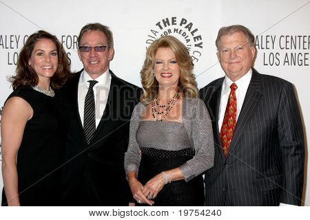 LOS ANGELES - NOV 30:  Jane & Tim Allen,  Mary Hart & Burt Sugarman arrive at the Paley Center for Media Annual Los Angeles Gala at Beverly Wilshire Hotel on November 30, 2010 in Beverly Hills, CA