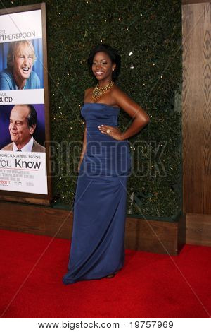 LOS ANGELES - DEC 13:  Teyonah Parris at Heather Tom's Annual Christmas Party 2010 at Village Theater on December 13, 2010 in Westwood, CA.
