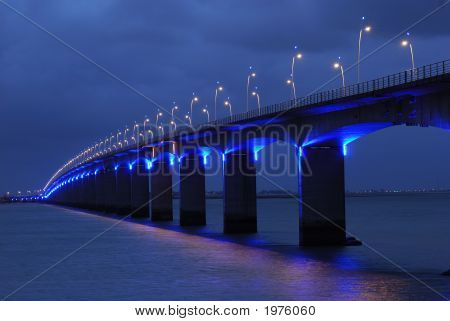 Viaduct Under Blue Lights