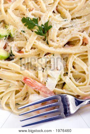 Salmon And Shrimp Fettuccine
