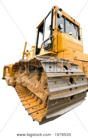 The Heavy Dirty Building Bulldozer Of Yellow Color