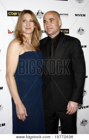 LOS ANGELES - JAN 22:  Andre Agassi and Steffi Graf arrives at the 2011 G'Day USA Australia Week LA Black Tie Gala at Hollywood Palladium on January 22, 2011 in Los Angeles, CA