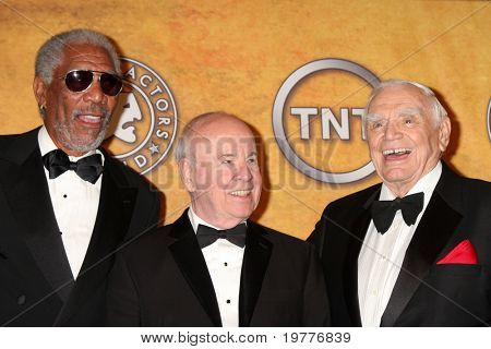 LOS ANGELES - JAN 30:   Morgan Freeman, Tim Conway, Ernest Borgnine in the Press Room at the 2011 Screen Actors Guild Awards  at Shrine Auditorium on January 30, 2011 in Los Angeles, CA
