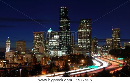 Traffic At Night In Seattle
