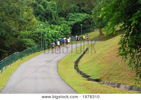 Men Running Competition Help In The Parks