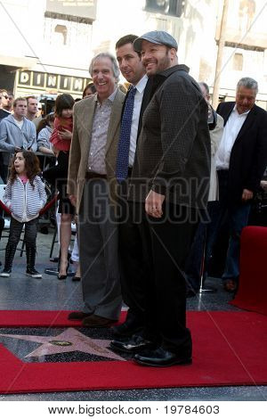 LOS ANGELES - FEB 1:  Henry Winkler, Adam Sandler, Kevin James at the Adam Sandler Hollywood Walk of Fame Star Ceremony at W Hotel on February 1, 2011 in Hollywood, CA
