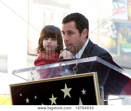 LOS ANGELES - FEB 1:  Adam Sandler, with daughter at the Adam Sandler Hollywood Walk of Fame Star Ceremony at W Hotel on February 1, 2011 in Hollywood, CA