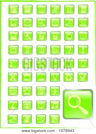 Big Set Of Green Vector Glass Button Icons