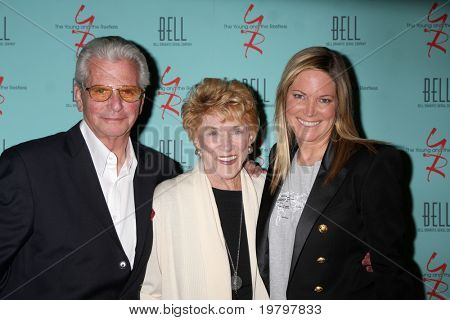 LOS ANGELES - MAR 18:  Paul Rauch, Jeanne Cooper, Maria Bell arriving at The Young & the Restless 38th Anniversary Party at Avalon Hotel on March 18, 2011 in Beverly HIlls, CA