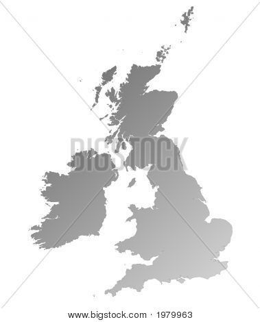 Detailed Gray Gradient Map Of United Kingdom