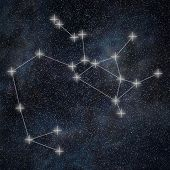 Постер, плакат: Sagittarius Constellation Zodiac Sign Sagittarius Constellation Lines Galaxy Background