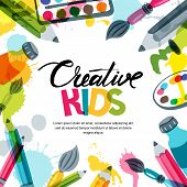 Kids Art, Education, Creativity Class Concept. Vector Banner, Poster Background With Calligraphy, Pe poster
