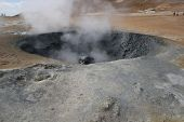 Hot Sulphur Mud Erupting From Small Crater