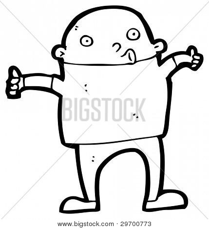 man giving thumbs up sign cartoon (raster version)