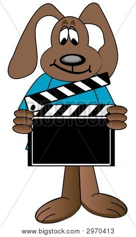 Dog Cartoon Holding Clapboard