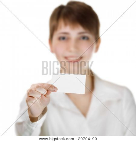 Image of business woman holding her visiting card