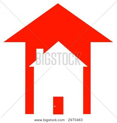 Arrow Red Up With House