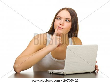 Young smiling girl with laptop isolated