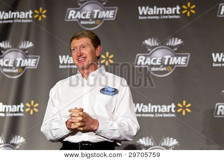 CONCORD, NC - JAN. 26: NASCAR Sprint Cup champion, Bill Elliott takes questions from the media during the Wal-Mart press conference in Concord, NC on 26 January, 2012.