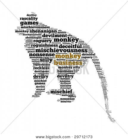 Conceptual of Monkey Business in Word Collage