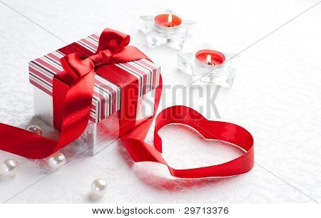 Art Valentine Day Gift Box With Red Heart