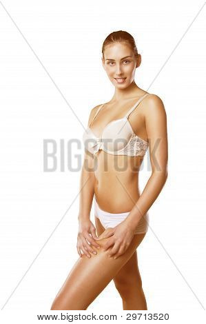 Girl Checking Thigh Cellulite