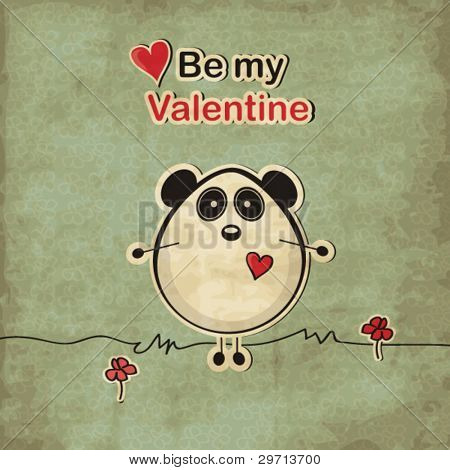 Vintage love card with panda bear, Valentine's day illustration