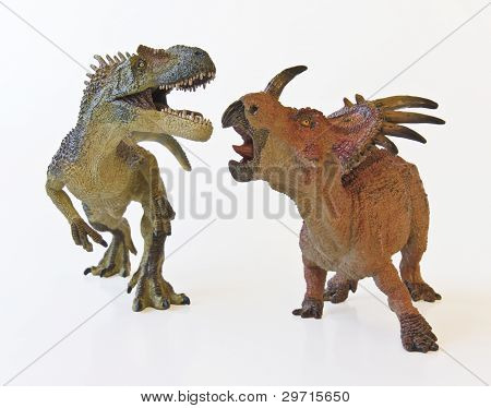 Allosaurus And Styracosaurus Battle With White Background