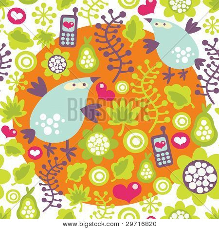 Seamless pattern with birds and mobile phones.