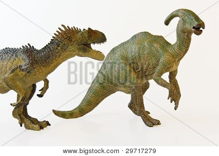 A Hungry Allosaur Menaces An Alarmed Parasaurolophus