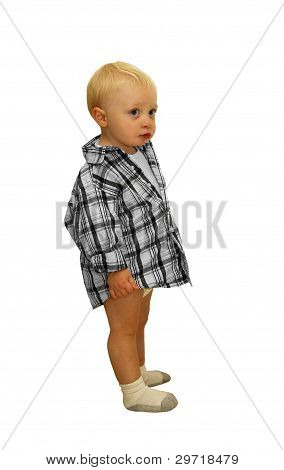 Little Boy in Shirt and Diaper Isolated on White