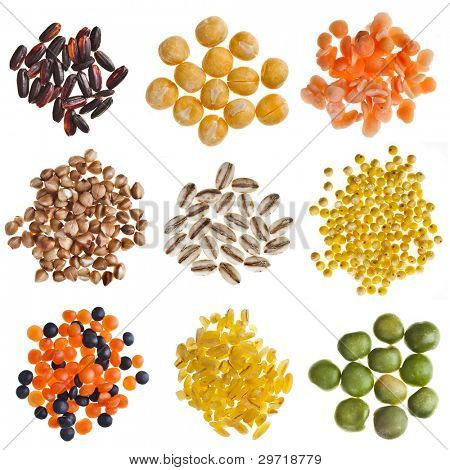 Different kinds group grain, cereals , bean  isolated on white