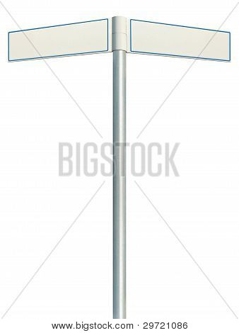Direction Road Signs, Two Empty Blank Signposts, Isolated Directional Roadside Guidepost Pointer