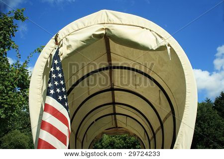 Covered Wagon With Flag