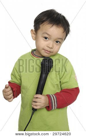 Kid singing, with black microphone ,isolated