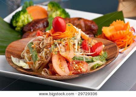 Thai Sausage With Som Tum Salad
