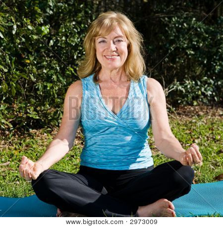 Mature Woman Yoga - Lotus