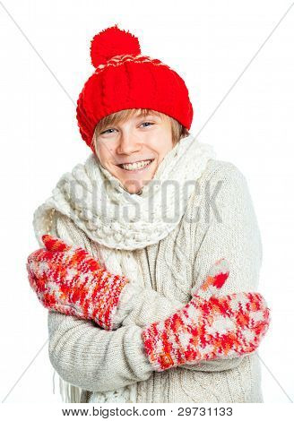 Young frozen teenager in winter style