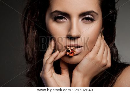 elegant fashionable woman with ring