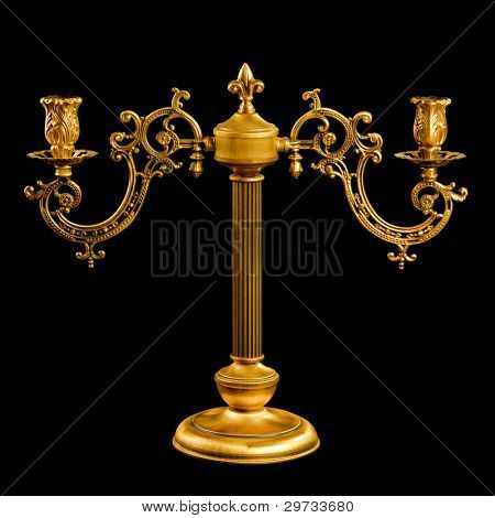 vintage Candlestick isolated on black with clipping path
