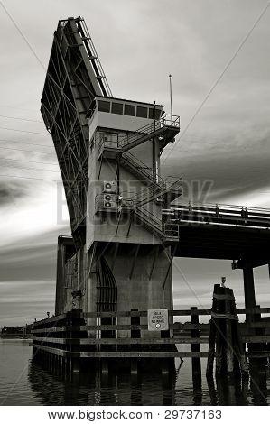 Nearing an open draw bridge
