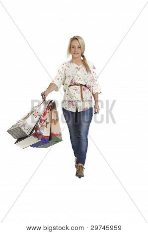 Happy young girl shopping