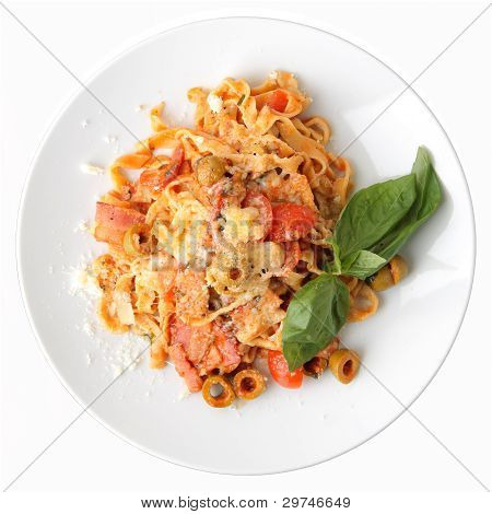 Fettuccine With Tomato, Olives And Bacon