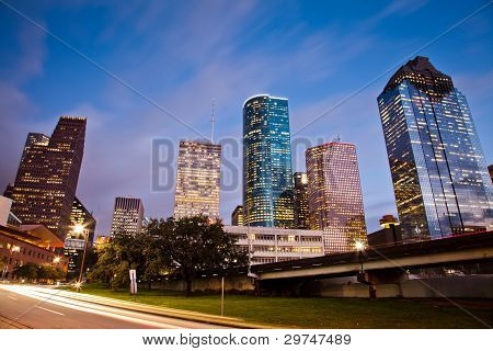 Downtown Houston at traffic time