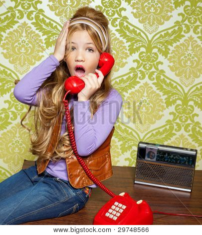 kid girl retro hip vintage talking busybody with red telephone